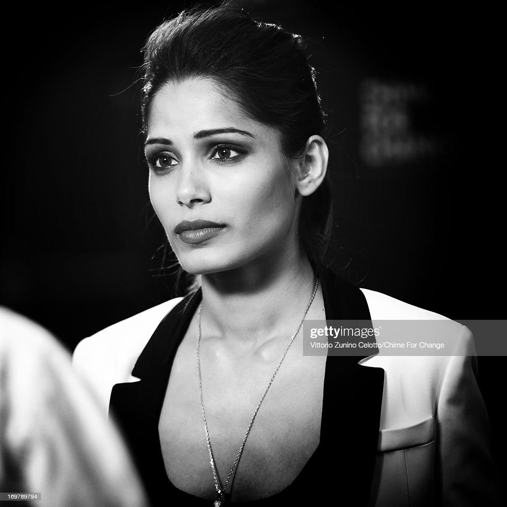 Freida Pinto backstage at the 'Chime For Change: The Sound Of Change Live' Concert at Twickenham Stadium on June 1, 2013 in London, England. Chime For Change is a global campaign for girls' and women's empowerment founded by Gucci with a founding committee comprised of Gucci Creative Director Frida Giannini, Salma Hayek Pinault and Beyonce Knowles-Carter.