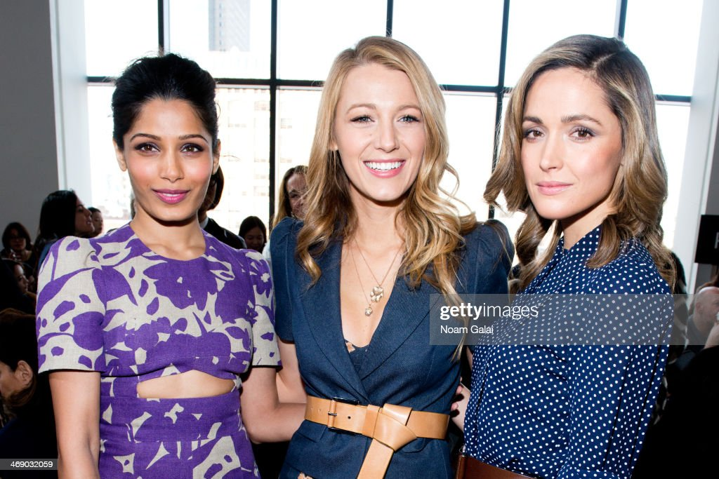 <a gi-track='captionPersonalityLinkClicked' href=/galleries/search?phrase=Freida+Pinto&family=editorial&specificpeople=5518973 ng-click='$event.stopPropagation()'>Freida Pinto</a>, <a gi-track='captionPersonalityLinkClicked' href=/galleries/search?phrase=Blake+Lively&family=editorial&specificpeople=221673 ng-click='$event.stopPropagation()'>Blake Lively</a> and <a gi-track='captionPersonalityLinkClicked' href=/galleries/search?phrase=Rose+Byrne&family=editorial&specificpeople=206670 ng-click='$event.stopPropagation()'>Rose Byrne</a> attend the Michael Kors Show during Mercedes-Benz Fashion Week Fall 2014 at Spring Studios on February 12, 2014 in New York City.