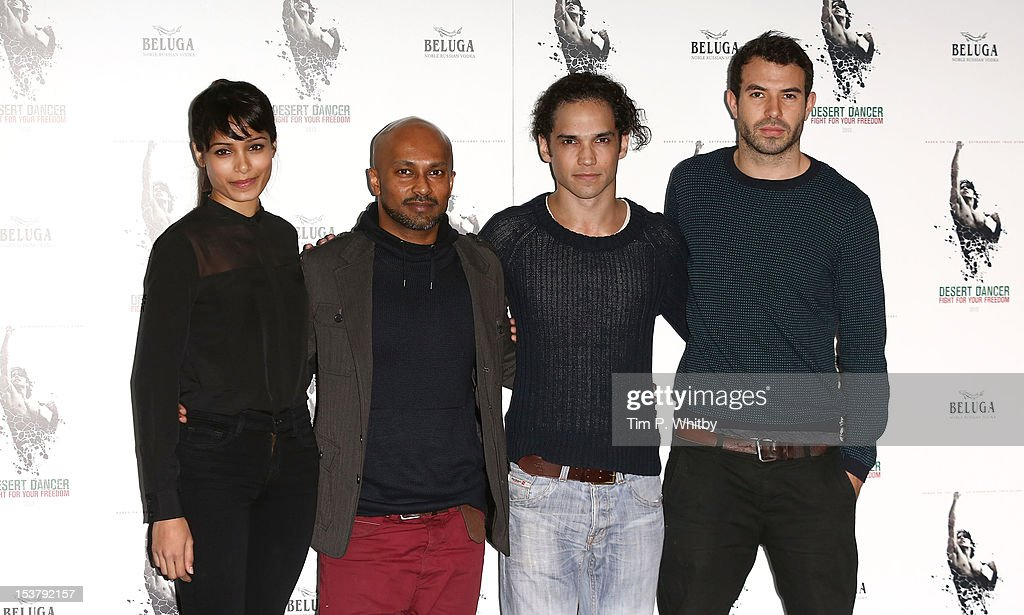 Freida Pinto, choreographer Akram Khan, Reece Ritchie and Tom Cullen attend a photocall for 'Desert Dancer' at Sadler's Wells Theatre on October 9, 2012 in London, England.