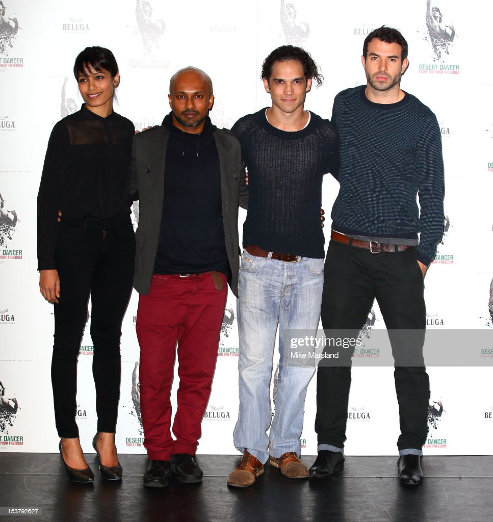 <a gi-track='captionPersonalityLinkClicked' href=/galleries/search?phrase=Freida+Pinto&family=editorial&specificpeople=5518973 ng-click='$event.stopPropagation()'>Freida Pinto</a>, choreographer Akram Khan, <a gi-track='captionPersonalityLinkClicked' href=/galleries/search?phrase=Reece+Ritchie&family=editorial&specificpeople=4938562 ng-click='$event.stopPropagation()'>Reece Ritchie</a> and Tom Cullen attend a photocall for 'Desert Dancer' at Sadler's Wells Theatre on October 9, 2012 in London, England.