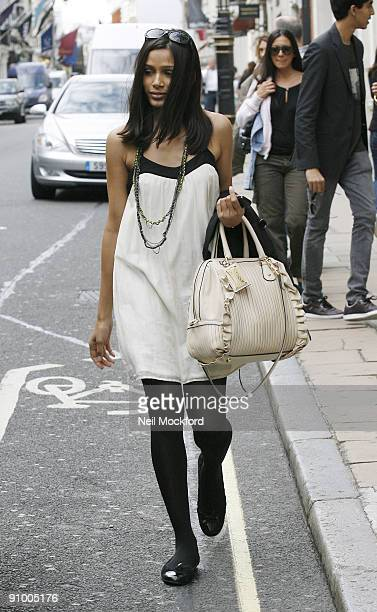 Freida Pinto goes shopping at Dolce Gabbana on September 21 2009 in London England