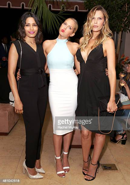 Freida Pinto hosts Erin Foster and Sara Foster attend Amazon Prime Summer Soiree at the Sunset Towers on July 16 2015 in West Hollywood California