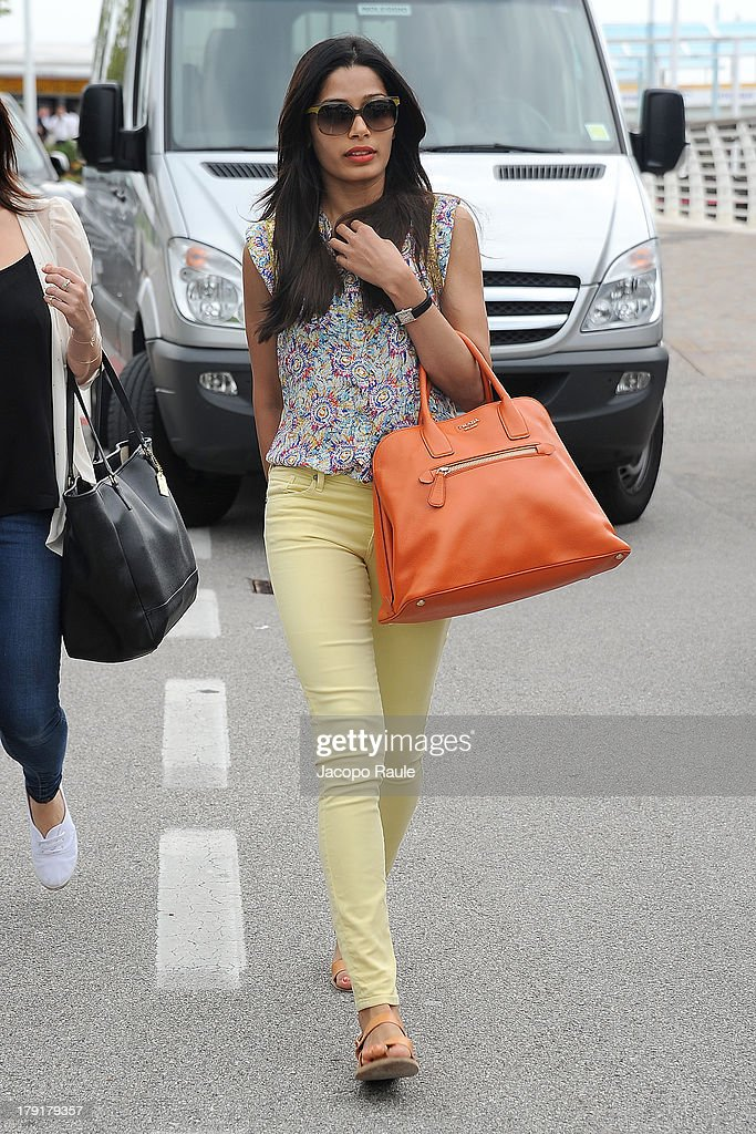 <a gi-track='captionPersonalityLinkClicked' href=/galleries/search?phrase=Freida+Pinto&family=editorial&specificpeople=5518973 ng-click='$event.stopPropagation()'>Freida Pinto</a> is seen leaving The 70th Venice International Film Festival on September 1, 2013 in Venice, Italy.