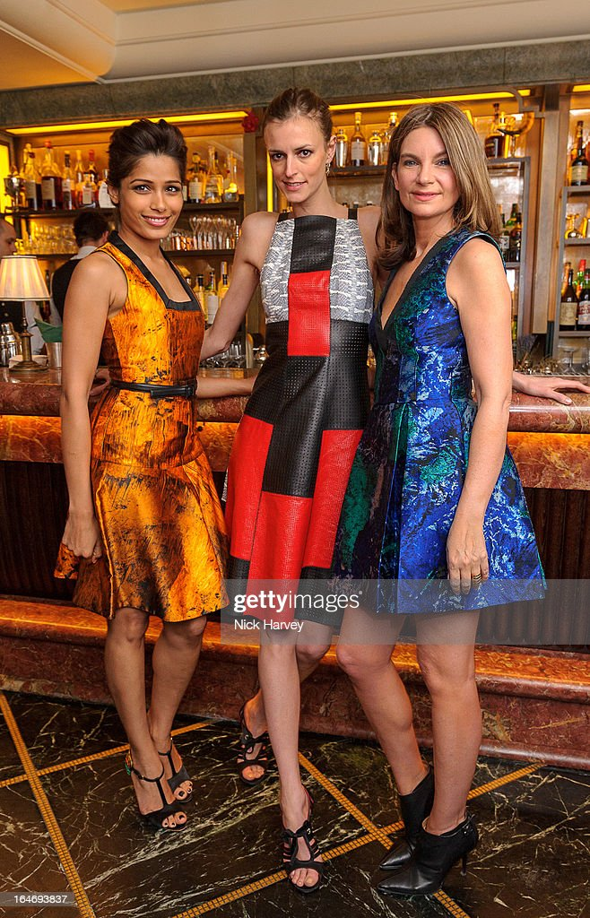 Freida Pinto, Jacquetta Wheeler and Natalie Massenet attend as Net-A-Porter host private dinner to celebrate the launch of the Proenza Schouler excluisve capsule collection on March 26, 2013 in London, England.