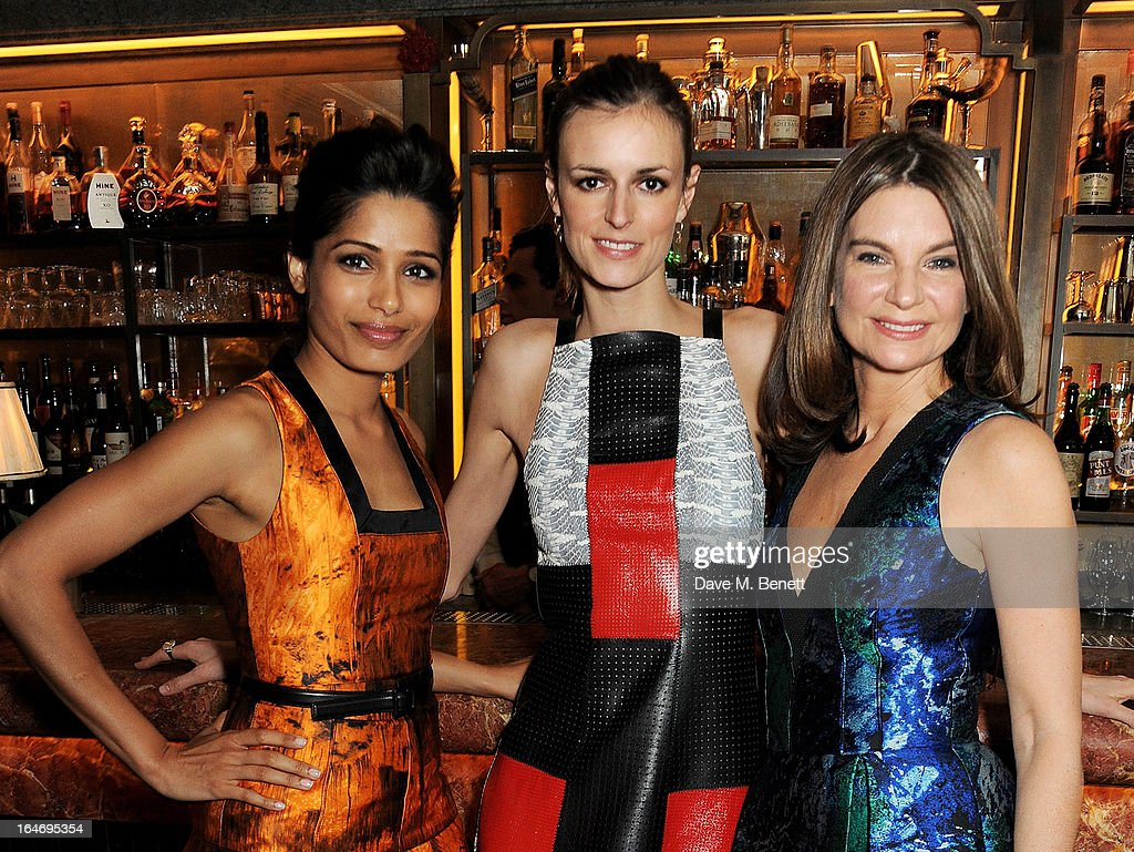 <a gi-track='captionPersonalityLinkClicked' href=/galleries/search?phrase=Freida+Pinto&family=editorial&specificpeople=5518973 ng-click='$event.stopPropagation()'>Freida Pinto</a>, <a gi-track='captionPersonalityLinkClicked' href=/galleries/search?phrase=Jacquetta+Wheeler&family=editorial&specificpeople=213646 ng-click='$event.stopPropagation()'>Jacquetta Wheeler</a> and NET-A-PORTER Founder and Chairman <a gi-track='captionPersonalityLinkClicked' href=/galleries/search?phrase=Natalie+Massenet&family=editorial&specificpeople=2118990 ng-click='$event.stopPropagation()'>Natalie Massenet</a> attend a dinner hosted by online luxury fashion retailer NET-A-PORTER to celebrate designers Jack McCollough and Lazaro Hernandez of Proenza Schouler, and launch their exclusive capsule collection to the site, at 34 Restaurant on March 26, 2013 in London, England.