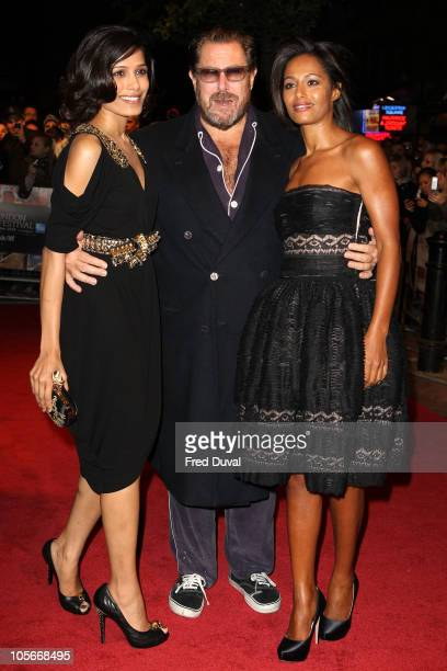 Freida Pinto Julian Schnabel and Rula Jebreal attends the premiere 'Miral' at the 54th BFI London Film Festival at Vue West End on October 18 2010 in...