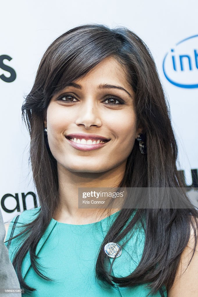 <a gi-track='captionPersonalityLinkClicked' href=/galleries/search?phrase=Freida+Pinto&family=editorial&specificpeople=5518973 ng-click='$event.stopPropagation()'>Freida Pinto</a> poses for a photo during the Girl Rising: A Rally for Girls and Women screening at The World Bank on April 18, 2013 in Washington, DC.