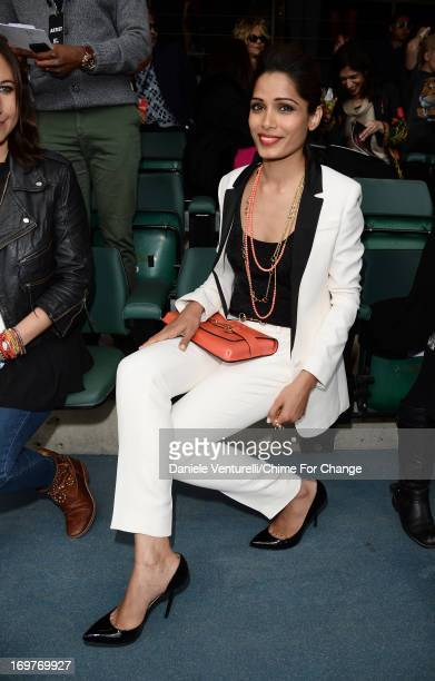 Freida Pinto poses inside the Royal Box at the 'Chime For Change The Sound Of Change Live' Concert at Twickenham Stadium on June 1 2013 in London...