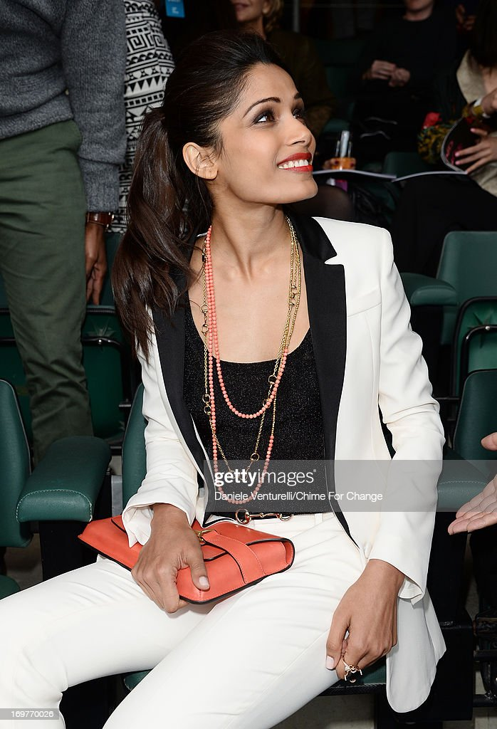 Freida Pinto poses inside the Royal Box at the 'Chime For Change: The Sound Of Change Live' Concert at Twickenham Stadium on June 1, 2013 in London, England. Chime For Change is a global campaign for girls' and women's empowerment founded by Gucci with a founding committee comprised of Gucci Creative Director Frida Giannini, Salma Hayek Pinault and Beyonce Knowles-Carter.