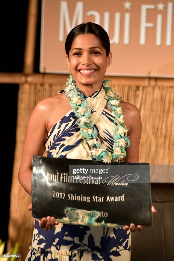 Freida Pinto receives the Shining Star Award during the 'Celestial Cinema' on day two of the 2017 Maui Film Festival at Wailea on June 22, 2017 in Wailea, Hawaii.