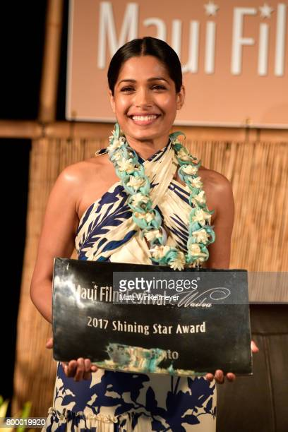 Freida Pinto receives the Shining Star Award during the 'Celestial Cinema' on day two of the 2017 Maui Film Festival at Wailea on June 22 2017 in...