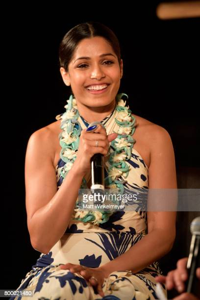 Freida Pinto recipient of the Shining Star Award speaks during the 'Celestial Cinema' on day two of the 2017 Maui Film Festival at Wailea on June 22...