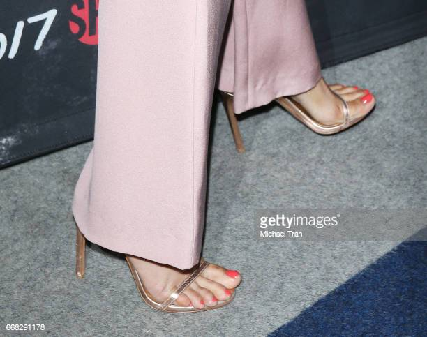 Freida Pinto shoe and nail polish detail arrvies at Showtime's 'Guerrilla' FYC event held at The WGA Theater on April 13 2017 in Beverly Hills...