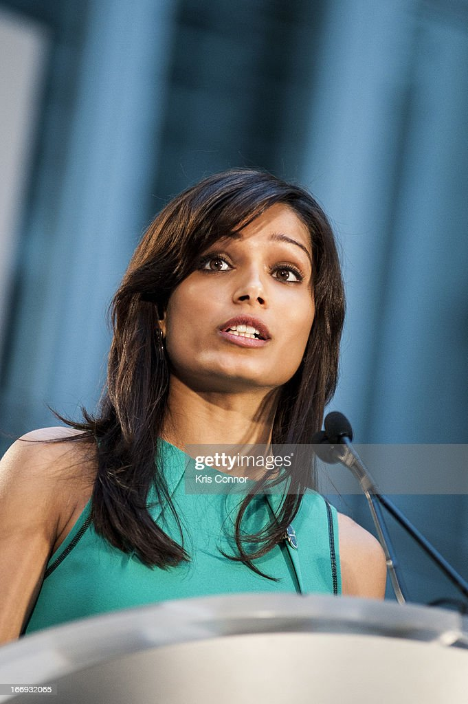 Freida Pinto speaks during the Girl Rising: A Rally for Girls and Women screening at The World Bank on April 18, 2013 in Washington, DC.