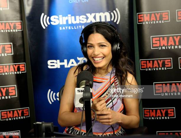 Freida Pinto visits 'Sway in the Morning' with Sway Calloway on Eminem's Shade 45 at SiriusXM Studios on April 4 2017 in New York City