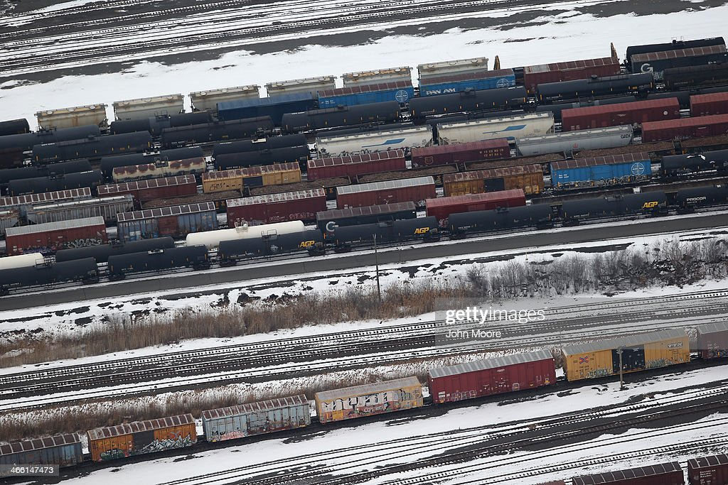 Freight cars are seen from the window of a Customs and Border Protection (CBP), Blackhawk helicopter ahead of Super Bowl XLVIII on January 31, 2014 in Port Newark, New Jersey. Helicopters flown by 'air interdiction agents' from the Customs and Border Protection's Office of Air and Marine (OAM), are providing air support for Super Bowl XLVIII between the Denver Broncos and the Seattle Seahawks this Sunday.