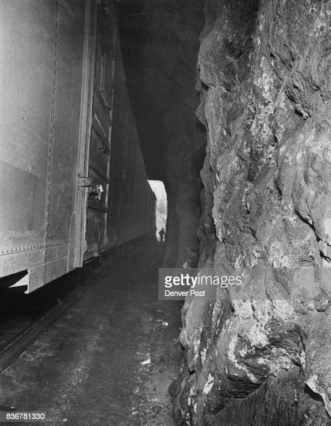 Freight cars block the line within Tunnel No 2 as crews labor to reopen it The derailment took place at the tunnel about 25 1/2 miles west of Denver...