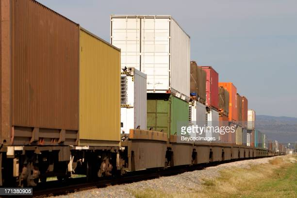 Freight container train on the move