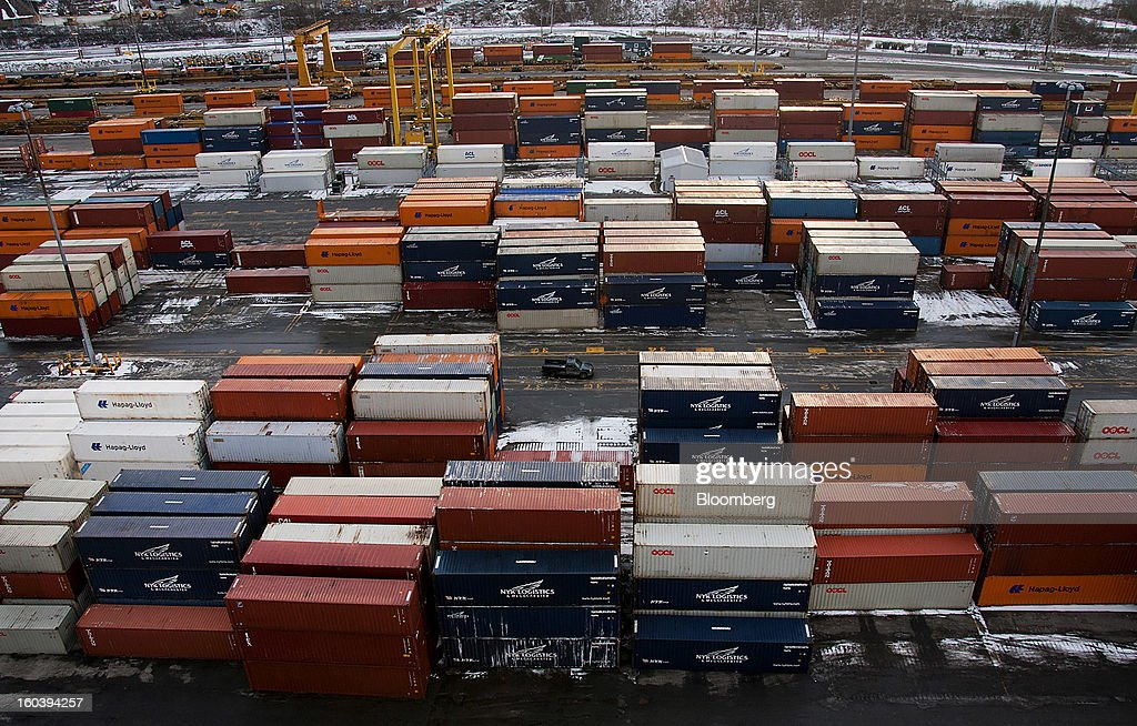 Freight containers sit stacked at the Port Of Halifax's Fairview Cove container terminal, operated by Cerescorp Co., in Halifax, Nova Scotia, Canada, on Wednesday, Jan. 30, 2013. Statistics Canada (STCA) is scheduled to release gross domestic product data on Jan. 31. Photographer: Aaron McKenzie Fraser/Bloomberg via Getty Images