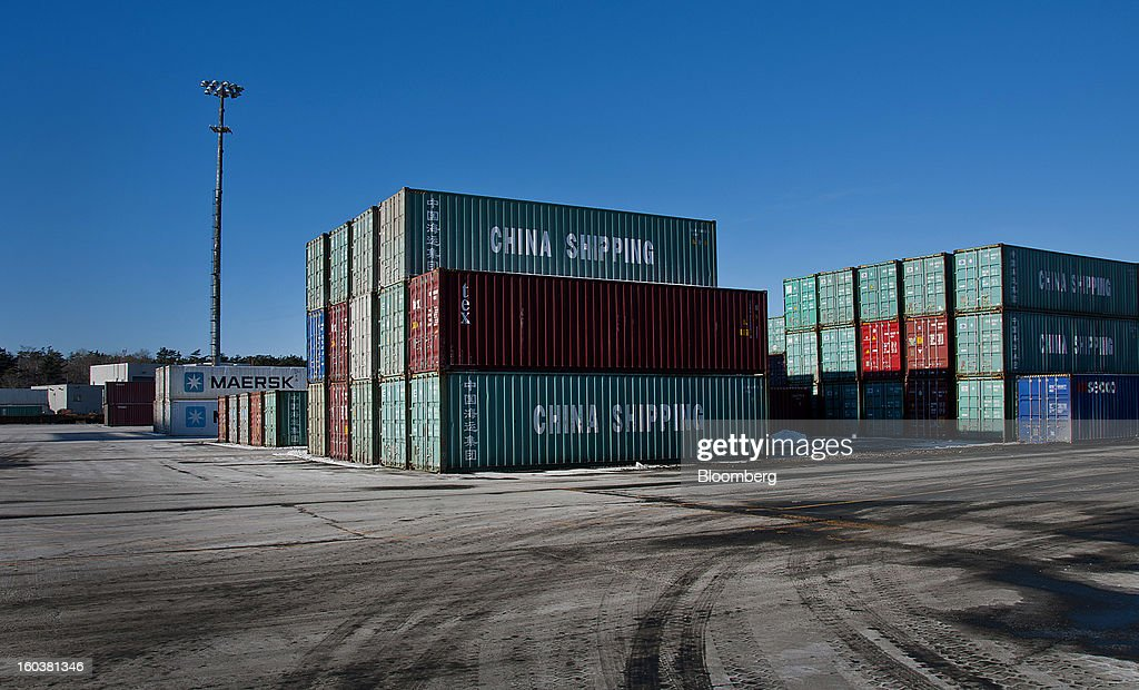 Freight containers sit stacked at the Port Of Halifax's South End container terminal, operated by Halterm Ltd., in Halifax, Nova Scotia, Canada, on Tuesday, Jan. 29, 2013. Statistics Canada (STCA) is scheduled to release gross domestic product data on Jan. 31. Photographer: Aaron McKenzie Fraser/Bloomberg via Getty Images