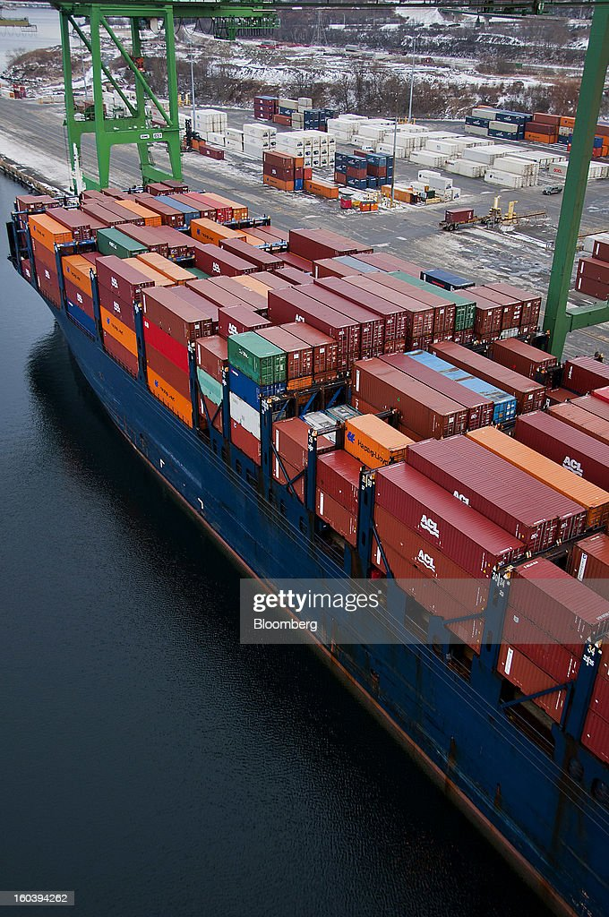 Freight containers sit stacked on an Atlantic Container Line (ACL) ship docked at the Port Of Halifax's Fairview Cove container terminal, operated by Cerescorp Co., in Halifax, Nova Scotia, Canada, on Wednesday, Jan. 30, 2013. Statistics Canada (STCA) is scheduled to release gross domestic product data on Jan. 31. Photographer: Aaron McKenzie Fraser/Bloomberg via Getty Images