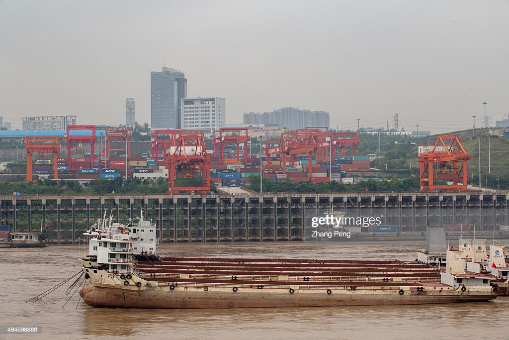 Freight ships anchored in Chongqing container port on Yangtze river With a growth rate of 11 percent the municipality of Chongqing has topped China's...