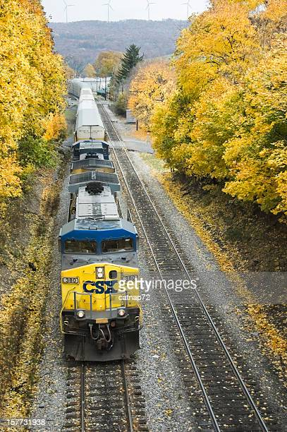 Freight Train and Yellow Maple Leaves, Fall Landscape