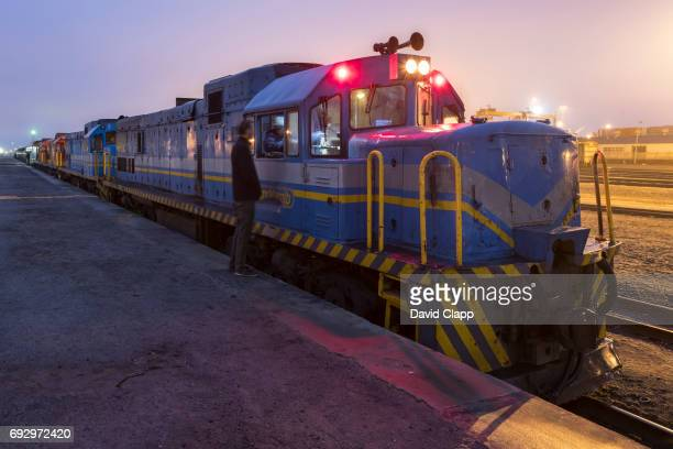 Freight train in Walvis Bay Station in Namibia