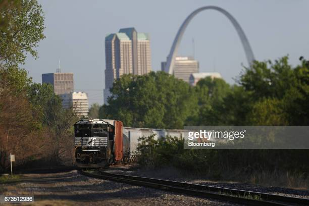 A freight train led by Norfolk Southern Corp locomotives waits for a clear signal in East St Louis Illinois US on Tuesday April 25 2017 The Gateway...