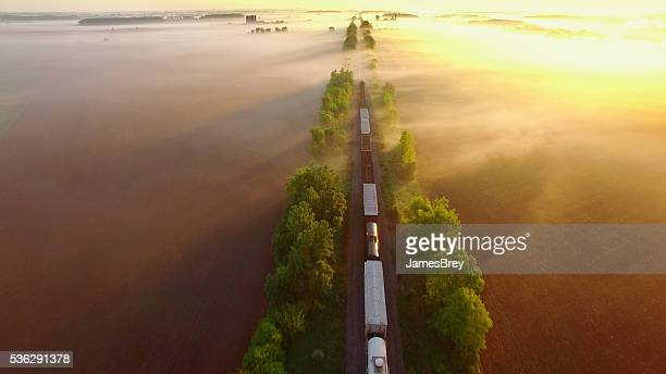 Freight train rolls across peaceful, foggy landscape at sunrise