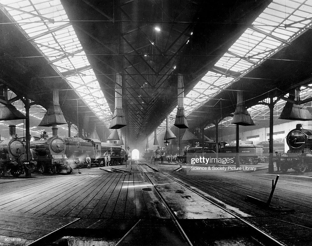 Freight trains in Gateshead locomotive depot North Eastern Railway Tyne Wear c 1910