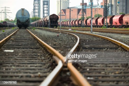 Freight trains on tracks