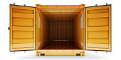 Front view of open empty cargo container with open doors, isolated on white background