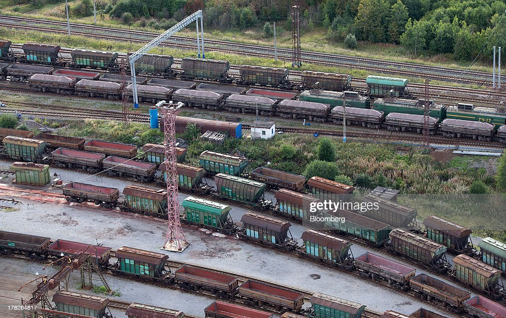 Freight wagons stand at a rail depot outside the potash mine operated by OAO Uralkali in Berezniki, Russia, on Monday, Aug. 26, 2013. Russia pressured Belarus to free Vladislav Baumgertner, the head of OAO Uralkali, the world's biggest potash producer, saying a refusal may harm relations as the smaller nation faces a funding crunch. Photographer: Andrey Rudakov/Bloomberg via Getty Images