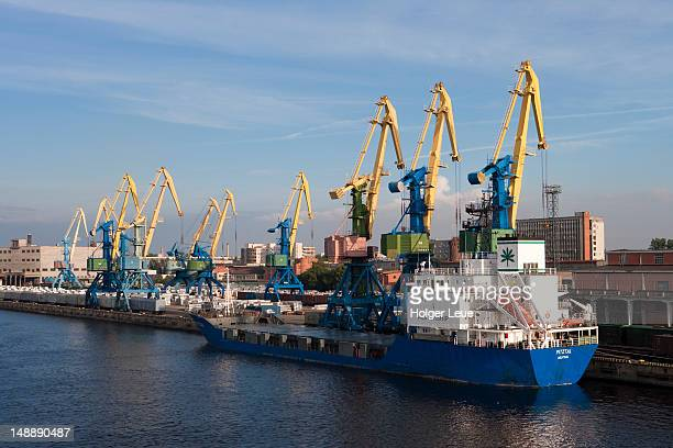 Freighter Pitztal (Alstership) and freight cranes in harbour.