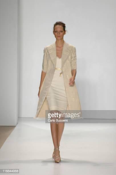 Freja Beha Erichsen wearing J Mendel Spring 2006 during Olympus Fashion Week Spring 2006 J Mendel Runway at Bryant Park in New York City New York...