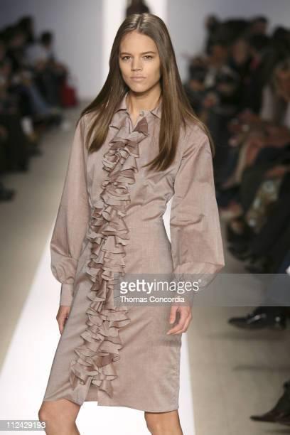 Freja Beha Erichsen wearing Luca Luca Fall 2006 during Olympus Fashion Week Fall 2006 Luca Luca Runway at Bryant Park in New York City New York...