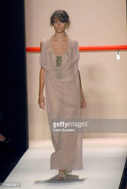 Freja Beha Erichsen wearing Vera Wang Spring 2007 during Olympus Fashion Week Spring 2007 Vera Wang Runway at The Tent Bryant Park in New York City...