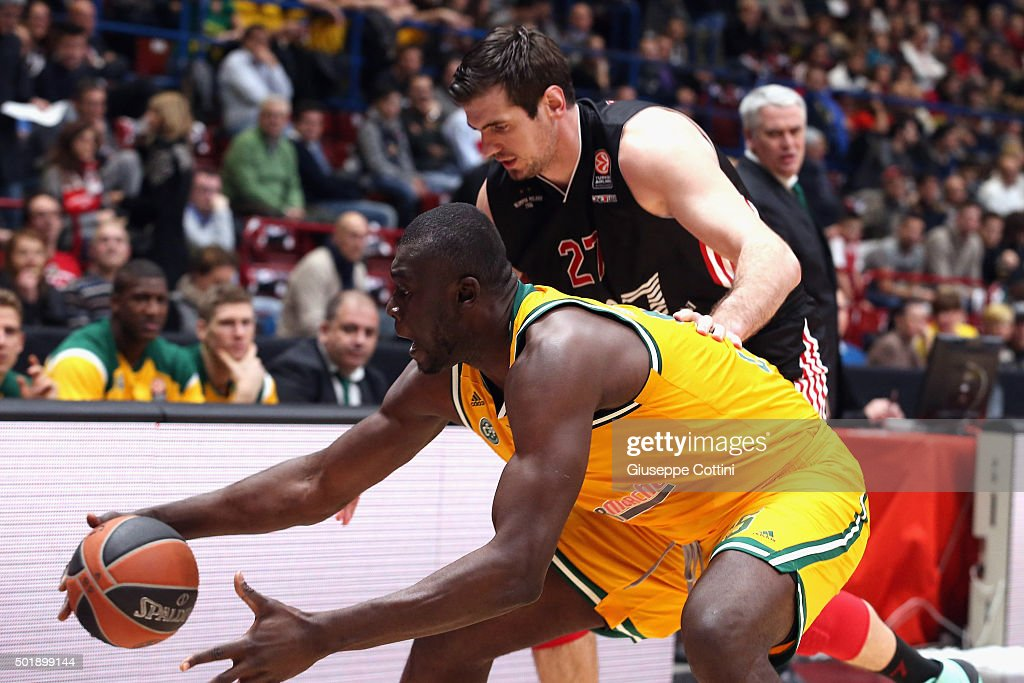 Frejus Zerbo, #55 of Limoges CSP competes with Stanko Barac, #27 of EA7 Emporio Armani Milan during the Turkish Airlines Euroleague Basketball Regular Season Round 10 game between EA7 Emporio Armani Milan v Limoges CSP at Mediloanum Forum on December 18, 2015 in Milan, Italy.