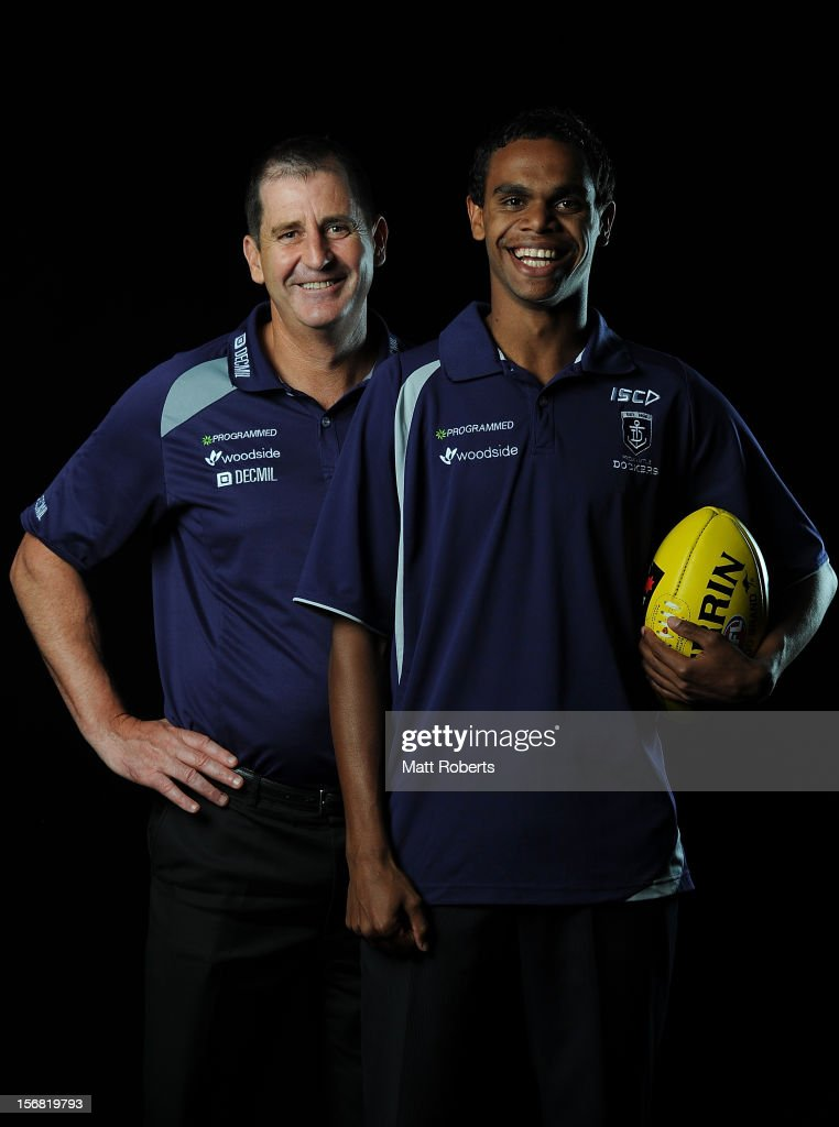 Fremantle coach Ross Lyon poses with Josh Simpson during the 2012 AFL Draft at the Gold Coast Exhibition Centre on November 22, 2012 on the Gold Coast, Australia.