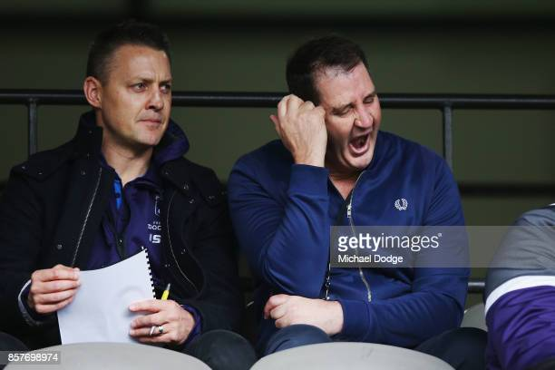 Fremantle Dockers head coach Ross Lyon breaks into a yawn during the AFL Draft Combine at Etihad Stadium on October 5 2017 in Melbourne Australia