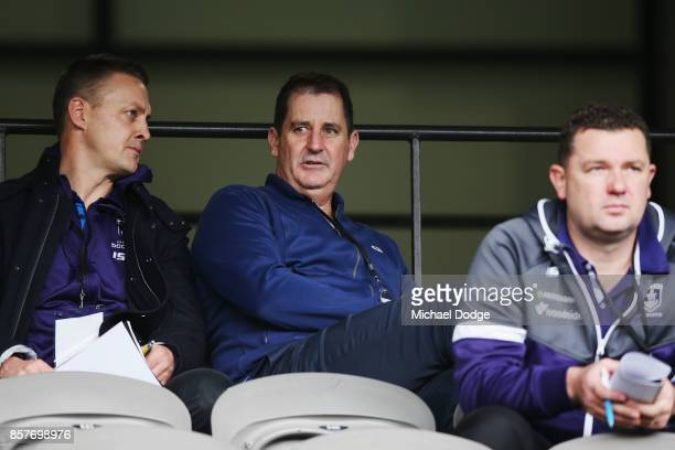 Fremantle Dockers head coach Ross Lyon looks on during the AFL Draft Combine at Etihad Stadium on October 5 2017 in Melbourne Australia