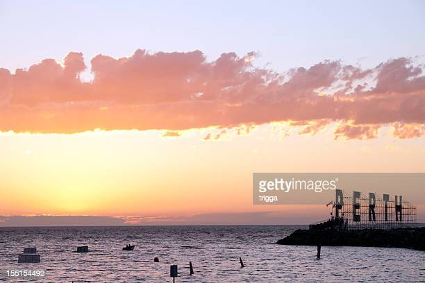 Fremantle Harbour, Australia, at sunset with Perth sign