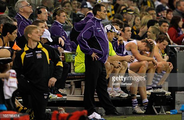 Fremantle interchange steward looks on after a sideline infringement during the round 15 AFL match between the Richmond Tigers and the Fremantle...