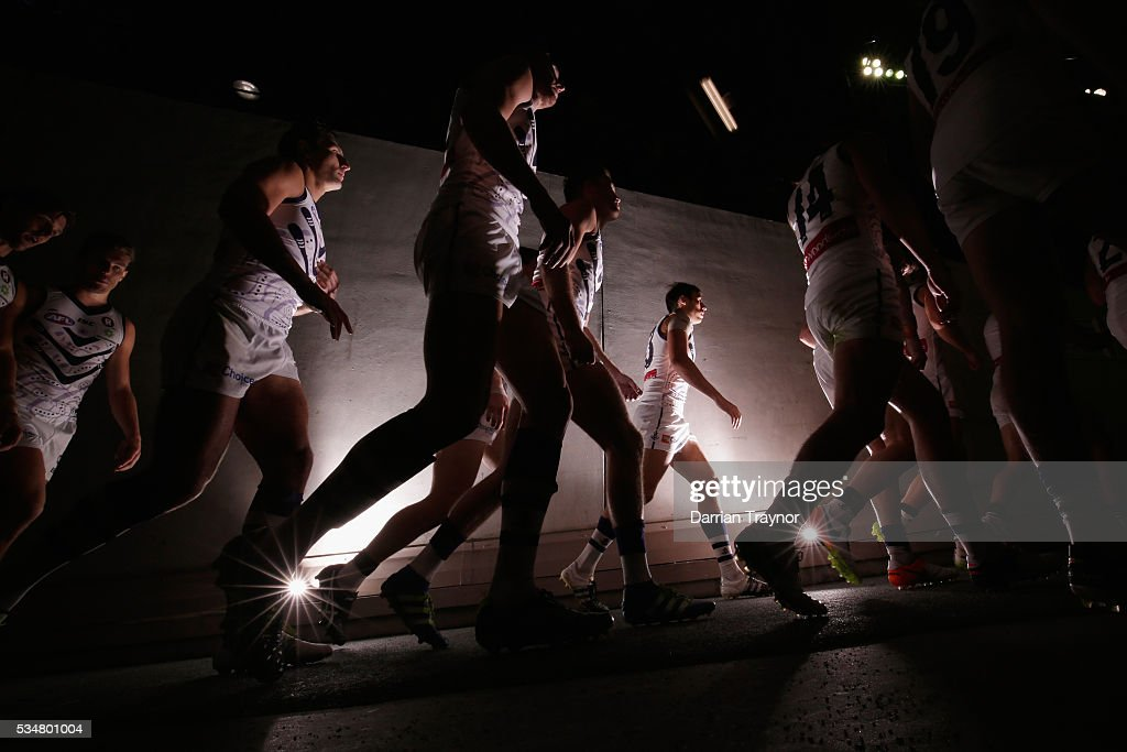 Fremantle players walk out the rooms after the half time break during the round 10 AFL match between the St Kilda Saints and the Fremantle Dockers at Etihad Stadium on May 28, 2016 in Melbourne, Australia.