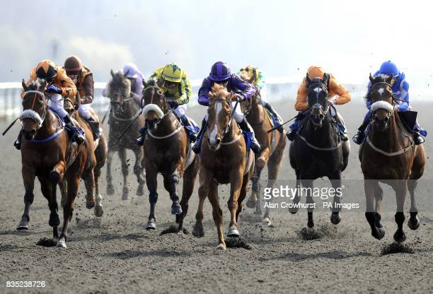 Fremen ridden by Nicholas Lawes goes on to win the Weatherbys AWT 'Hands And Heels' Apprentice Series Final during the Winter Derby day at Linfield...