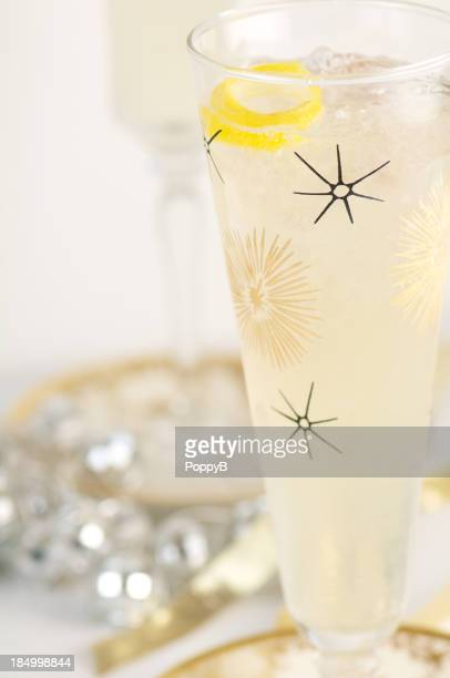 French 75 Champagne Cocktail in Vintage Glass