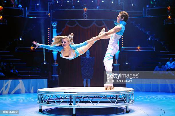 French acrobats 'Les Rollers Pilar' perform during the 'Prestige' Bouglione circus show at the Cirque d'Hiver in Paris on October 26 2010 AFP PHOTO /...