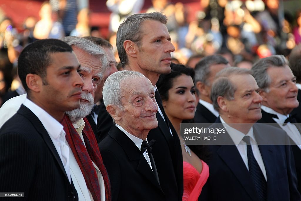French actor Adel Bencherif, French actor Michael Lonsdale, French actor Jacques Herlin, French actor Lambert Wilson and French actress Sabrina Ouazani arrive for the screening of 'Des Hommes et des Dieux' (Of God and Men) presented in competition at the 63rd Cannes Film Festival on May 18, 2010 in Cannes.