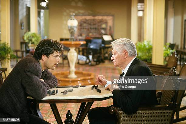 French actor Alain Cuny and British actor Rupert Everett on the set of the film 'Cronaca di una morte annunciata ' directed by Italian director...